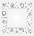 bacterial cells square frame concept line vector image vector image