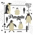 bashower design with cute penguins hand drawn vector image vector image