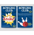 Bowling brochure flyer template set vector image vector image