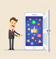 business man show screen of smartphone with icons vector image
