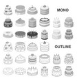 cake and dessert monochrom icons in set collection vector image vector image