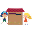 cardboard background with boy and girl vector image vector image