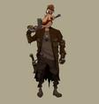 cartoon armed man in post apocalypse clothes