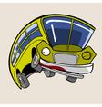 cartoon character cheerful yellow bus jump vector image vector image