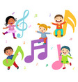 cartoon kids with music notes vector image vector image