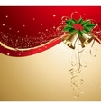 Christmas card with gold bells and holly vector image vector image