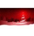 christmas tree blizzard stars snow sky night red vector image