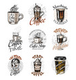 coffee shop logo and emblems set cup drink vector image