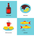 collection of portugal icons in flat style vector image