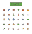 Colored Travel Line Icons vector image vector image