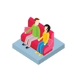 Couple on Bench Isometric Design vector image vector image