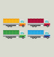 delivery transport truck van set flat vector image