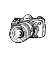 dslr digital still image camera with zoom drawing vector image vector image