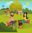 family with kids camping in park girl playing vector image