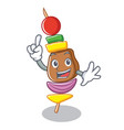 finger barbecue character cartoon style vector image