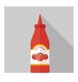 flat bottle with ketchup vector image
