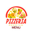 flat colorful half of pizza with vegetables and vector image