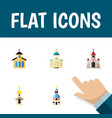 flat icon building set of structure traditional vector image vector image