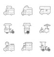 food truck icons set outline style vector image vector image