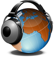 Globe with headphones on vector image vector image