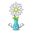 grinning character cartoon glass vase with flowers vector image