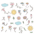 hand drawn doodle set of flowers vector image vector image