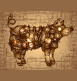 hand drawn steampunk pig vector image