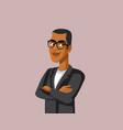 handsome smiling businessman wearing glasses vector image