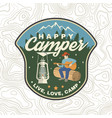 happy camper patch concept for shirt or vector image vector image