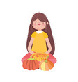 happy thanksgiving day woman sitting with cake vector image