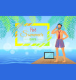 hot summer day business poster vector image vector image