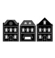 houses black drawing old european buildings vector image vector image