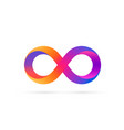 infinity symbol with color gradient colored icon vector image vector image