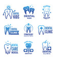 labels and logos set dental theme and vector image vector image