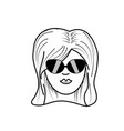 Line cute woman face with hairstyle and sunglasses