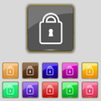 Lock icon sign Set with eleven colored buttons for vector image vector image