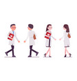 male and female scientist walking vector image vector image