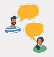 man and woman chatting in speech bubbles vector image vector image