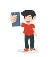 man doing camera selfie vector image vector image