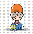 man student with glasses and medal vector image vector image