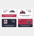 mountains travel emblems set business cards vector image
