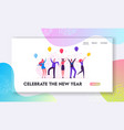 people celebrating new year party website landing vector image vector image