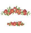 pomegranate headline border with blooming flowers vector image