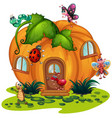 pumpkin house with many bugs vector image vector image