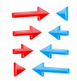 red and blue straight arrows web 3d shiny icons vector image vector image