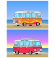 retro trailer travelling bus on coastline backdrop vector image vector image