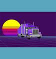 retrowave truck vector image