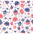 seamless pattern with hygge concept items vector image vector image