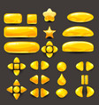 set game ui complete yellow menu of graphical vector image vector image