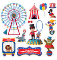 set isolated objects theme circus vector image